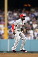 Brandon Phillips #4 of the Cincinnati Reds during a game against the Los Angeles Dodgers at Dodger Stadium on July 3, 2012 in Los Angeles, California. Los Angeles defeated Cincinnati 3-1. (Larry Goren/Four Seam Images)