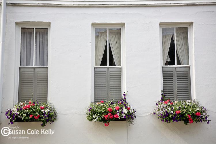Three windows in the Battery district,  Charleston, SC, USA
