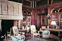 Interior: The Library at The Breakers, the Vanderbilt Mansion in Newport, R.I. Richard Morris Hunt, architect.