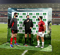11 December 2020;  Ulster captain Sam Carter referee Matthew Cowley and Toulouse captain Julien Marchand at the coin toss added of the Heineken Champions Cup Pool B Round 1 match between Ulster and Toulouse at Kingspan Stadium in Belfast. Photo by John Dickson/Dicksondigital
