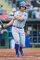 Omaha Storm Chasers catcher Parker Morin (21) at bat during a game against the Oklahoma City Dodgers at Chickasaw Bricktown Ballpark on June 16, 2016 in Oklahoma City, Oklahoma. Oklahoma City defeated Omaha 5-4  (William Purnell/Four Seam Images)