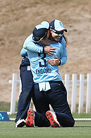 England players celebrate during the 1st ODI women's cricket international between New Zealand White Ferns and England at Hagley Oval in Christchurch, New Zealand on Tuesday, 23 February 2021. Photo: Martin Hunter / lintottphoto.co.nz