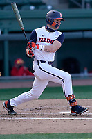 First baseman Kellen Sarver (18) of the Illinois Fighting Illini bats in a game against the Ohio State Buckeyes on Friday, March 5, 2021, at Fluor Field at the West End in Greenville, South Carolina. (Tom Priddy/Four Seam Images)