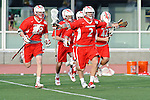 Baltimore, MD - March 3: Stags celebrate game winning goal by Attackmen John Snellman #44 during the Fairfield v UMBC mens lacrosse game at UMBC Stadium on March 3, 2012 in Baltimore, MD.
