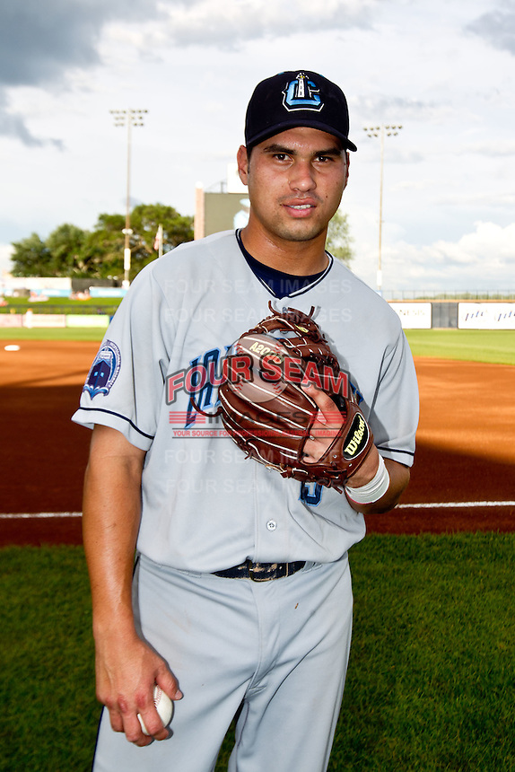 Argenis Martinez (13) of the Lake County Captains poses for a portrait prior to the Midwest League All-Star Game at Modern Woodmen Park on June 21, 2011 in Davenport, Iowa. (David Welker / Four Seam Images)