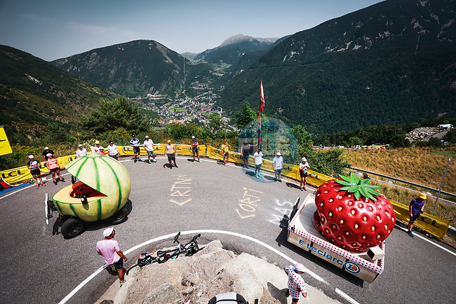 The publicity caravan before Stage 15 of the 2021 Tour de France, running 191.3km from Ceret to Andorre-La-Vieille, France. 11th July 2021.  <br /> Picture: A.S.O./Aurelien Vialatte | Cyclefile<br /> <br /> All photos usage must carry mandatory copyright credit (© Cyclefile | A.S.O./Aurelien Vialatte)