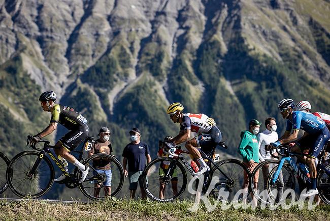 Esteban Chaves (COL/Mitchelton-Scott), Richie Porte (AUS/Trek Segafredo) and  Alejandro Valverde (ESP/Movistar)<br /> <br /> Stage 4 from Sisteron to Orcières-Merlette 160,5km<br /> <br /> 107th Tour de France 2020 (2.UWT)<br /> (the 'postponed edition' held in september)<br /> <br /> ©kramon