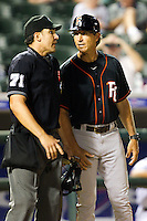 Fresno Grizzlies Manager Bob Mariano #19 argues with an umpire during the Pacific Coast League baseball game against the Round Rock Express on May 18, 2012 at The Dell Diamond in Round Rock, Texas. The Grizzlies defeated the Express 5-2. (Andrew Woolley/Four Seam Images)