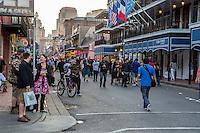 French Quarter, New Orleans, Louisiana.  Bourbon Street Revelers.