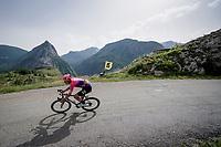Julius van den Berg (NED/EF Education First) descending towards the finish from the final climb of the day (Col de Baune) <br /> <br /> Stage 6: Saint-Vulbas to Saint-Michel-de-Maurienne (228km)<br /> 71st Critérium du Dauphiné 2019 (2.UWT)<br /> <br /> ©kramon