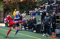 Seattle, WA - Saturday May 13, 2017: Estelle Johnson and Megan Rapinoe during a regular season National Women's Soccer League (NWSL) match between the Seattle Reign FC and the Washington Spirit at Memorial Stadium.