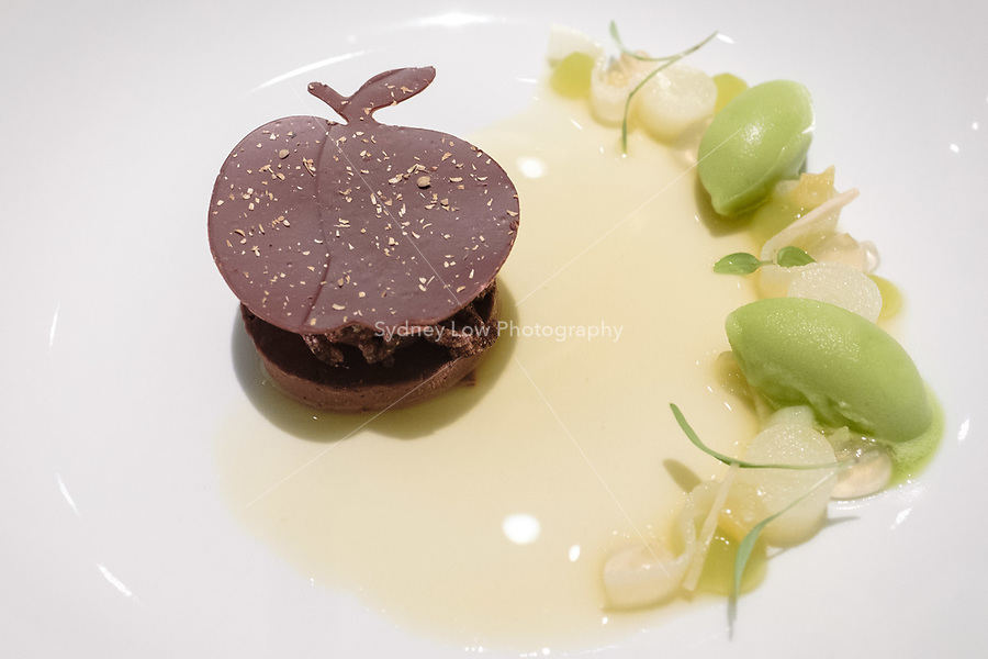 The dessert of granny smith apple, coriander & guanaja chocolate at Restaurant Tim Raue, Berlin, Germany. Photo Sydney Low
