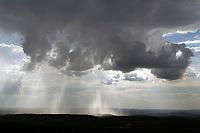 aerial photograph of rain showers pouring from cumulonimbus clouds near Atlanta, Georgia
