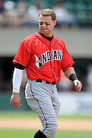 Indianapolis Indians outfielder Brett Carroll #30 during a game versus the Pawtucket Red Sox at McCoy Stadium in Pawtucket, Rhode Island on May 19, 2013.  (Ken Babbitt/Four Seam Images)
