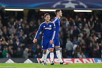 Eden Hazard of Chelsea is all smiles on the final whistle during the UEFA Champions League Group G match between Chelsea and Dynamo Kyiv at Stamford Bridge, London, England on 4 November 2015. Photo by Andy Rowland.