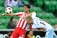 MELBOURNE, AUSTRALIA - FEBRUARY 12: Simon Colosimo of the Heart protects the ball in the round 27 A-League match between the Melbourne Heart and Sydney FC at AAMI Park on February 12, 2011 in Melbourne, Australia. (Photo Sydney Low / AsteriskImages.com)