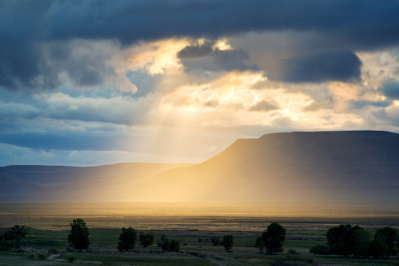 Sunburst thrpugh clouds in Harney County, Oregon.