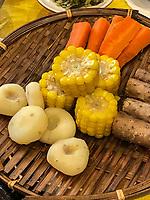 Yangzhou, Jiangsu, China.  Breakfast at Ye Chun Garden Tea House.  Corn (Maize), Taro Root, Water Chestnuts, Pumpkin.