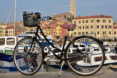 Bicycle from The Adriatic Hotel along the harbor of Roving, Croatia