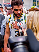 16 March 2019: University of Vermont Catamount Forward Anthony Lamb, a Junior from Toronto, Ontario, is interviewed by ESPN after the victory over the UMBC Retrievers in the America East Championship Game at Patrick Gymnasium in Burlington, Vermont. The Catamounts defeated the Retrievers 66-49, avenging their loss against the same team in last years' Championship Game. Mandatory Credit: Ed Wolfstein Photo *** RAW (NEF) Image File Available ***