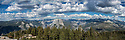 September 2014 / Yosemite National Park landscapes / Pano Taken from the top of Centinal Dome  showing Half Dome at center and looking down into Yosemite Valley / Photo by Bob Laramie