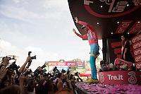 the new (and in theory final...) Maglia Rosa Vincenzo Nibali (ITA/Astana)<br /> <br /> stage 20: Guillestre (FR) - Sant'Anna di Vinadio (IT) 134km<br /> 99th Giro d'Italia 2016