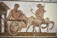 Picture of a Roman mosaics design depicting Dionysus drunk being transported on a chariot pulled by a centaur, from the ancient Roman city of Thysdrus. 3rd century AD House of Tertulla. El Djem Archaeological Museum, El Djem, Tunisia.