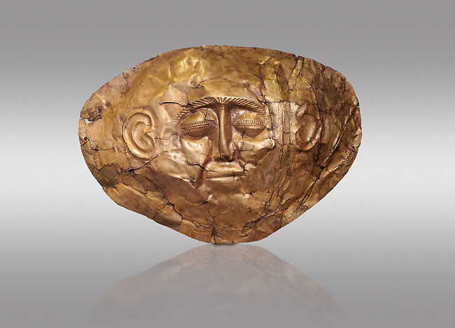 Mycenaean gold death mask, Grave Cicle A, Mycenae, Greece. National Archaeological Museum of Athens.  Grey Background<br /> <br /> <br />  This death mask is typical of the other Mycenaean gold death masks fround in Grave V. made from a sigle sheet of gold the shape of the face would have been hammered ot against wood. two holes either side of the gold mask allowed it to be held over the dead mans face. As weapons were found in the graves of Grave Circle A at Mycenae, those buried here wer warriors and maybe kings as the grave goods buried with them were of great value. 16th century BC