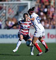Kelley O'Hara, Mariana Benavides.  The USWNT defeated Costa Rica, 8-0, during a friendly match at Sahlen's Stadium in Rochester, NY.