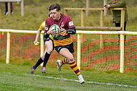 Will FOSTER (11) of Ampthill breaks free to score his team's first try during the Greene King IPA Championship match between Ampthill RUFC and Jersey Reds at Dillingham Park, Ampthill, England on 1 May 2021. Photo by David Horn.