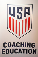 Orlando, FL - Friday Oct. 14, 2016:   US Soccer Coaching logo during a US Soccer Coaching Clinic in Orlando, Florida.