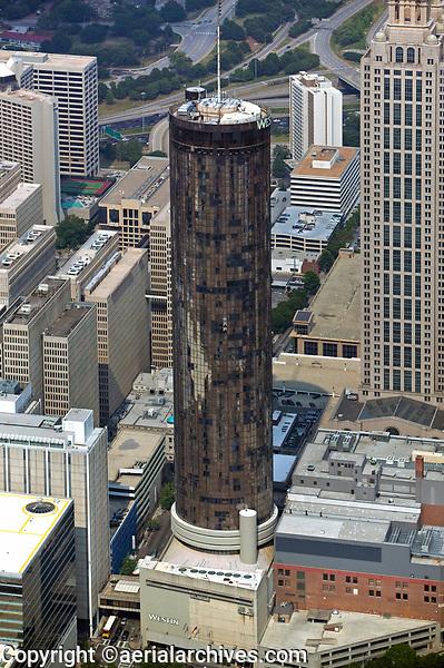 aerial photograph of the Westin Peachtree Plaza hotel tower, Atlanta, Georgia