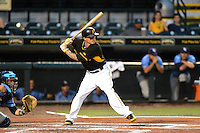 Bradenton Marauders Justin Sellers (38), on a rehab assignment from the Pittsburgh Pirates, at bat during a game against the Charlotte Stone Crabs on April 20, 2015 at McKechnie Field in Bradenton, Florida.  Charlotte defeated Bradenton 6-2.  (Mike Janes/Four Seam Images)