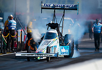 Aug 8, 2020; Clermont, Indiana, USA; NHRA top fuel driver Justin Ashley during qualifying for the Indy Nationals at Lucas Oil Raceway. Mandatory Credit: Mark J. Rebilas-USA TODAY Sports