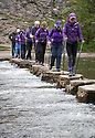 03/05/18<br /> <br /> Nordic Walkers take an evening walk across the stepping stones near Dovedale, Ashbourne in the Derbyshire Peak District to mark the start of the Rustick Nordic Walking festival which will see more than three hundred walkers all equipped with walking poles take part in walks in the Derbyshire Peak District over the next two days.<br /> All Rights Reserved: F Stop Press Ltd. +44(0)1335 344240  www.fstoppress.com.