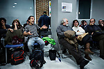 Madrid, Spain, February 12, 2015. A member of the left wing [party] Podemos speaks during their weekly meeting in Salamanca's neighbourhood in Madrid.
