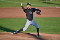 Grand Junction Rockies starting pitcher Alejandro Requena (45) delivers a pitch to the plate against the Ogden Raptors in Pioneer League action at Lindquist Field on August 25, 2016 in Ogden, Utah. The Rockies defeated the Raptors 12-3. (Stephen Smith/Four Seam Images)