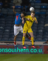 Fleetwood Town's Callum Connolly (left) battles with Portsmouth's Ellis Harrison (right) <br /> <br /> Photographer David Horton/CameraSport<br /> <br /> The EFL Sky Bet League One - Portsmouth v Fleetwood Town - Tuesday 10th March 2020 - Fratton Park - Portsmouth<br /> <br /> World Copyright © 2020 CameraSport. All rights reserved. 43 Linden Ave. Countesthorpe. Leicester. England. LE8 5PG - Tel: +44 (0) 116 277 4147 - admin@camerasport.com - www.camerasport.com