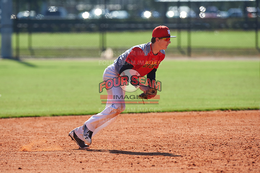 Brayton Wilmes (13) of Monument, Colorado during the Baseball Factory All-America Pre-Season Rookie Tournament, powered by Under Armour, on January 14, 2018 at Lake Myrtle Sports Complex in Auburndale, Florida.  (Michael Johnson/Four Seam Images)