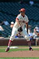 Pitcher David Peterson (3) of Regis Jesuit High School in Denver, Colorado during the Under Armour All-American Game on August 24, 2013 at Wrigley Field in Chicago, Illinois.  (Mike Janes/Four Seam Images)