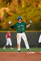 Dartmouth Big Green center fielder Matt Feinstein (23) calls timeout after hitting a double during a game against the Northeastern Huskies on March 3, 2018 at North Charlotte Regional Park in Port Charlotte, Florida.  Northeastern defeated Dartmouth 10-8.  (Mike Janes/Four Seam Images)
