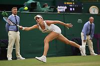 6th July 2021, Wimbledon, SW London, England; 2021 Wimbledon Championships, day 8;  Ajla Tomljanovic of Australia hits a return during the womens quarterfinal match