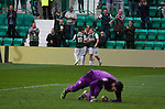 Hibernian 3 Alloa Athletic 0, 12/09/2015. Easter Road stadium, Scottish Championship. Home players celebrating Liam Henderson's opening goal at Easter Road stadium during the first-half of the Scottish Championship match between Hibernian and visitors Alloa Athletic. The home team won the game by 3-0, watched by a crowd of 7,774. It was the Edinburgh club's second season in the second tier of Scottish football following their relegation from the Premiership in 2013-14. Photo by Colin McPherson.