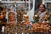 India, Rishikesh.  Shop Selling Religious Objects.