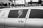 MIDDLETOWN, PA — SEPTEMBER 26, 2020:  A limo displays a Trump decal outside of a rally for President Donald Trump during the Covid-19 pandemic at the Harrisburg International Airport on September 25, 2020 in Middletown, PA.  Thousands of attendees, most of whom were maskless, rode on shuttle busses to and from the long term parking lot and the event site— as the world nears one million Covid-19 deaths— defying the states ban on gatherings over 250 people.  Photograph by Michael Nagle