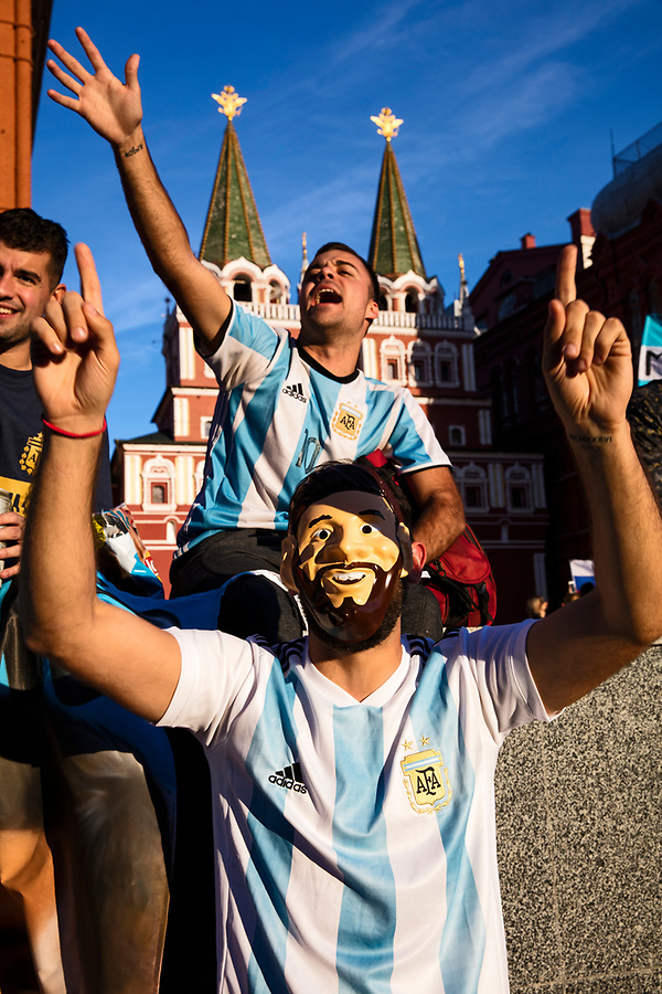 Moscow, Russia, 15/06/2018.<br /> Argentina supporters, one wearing a Lionel Messi mask, in central Moscow during the 2018 FIFA World Cup.
