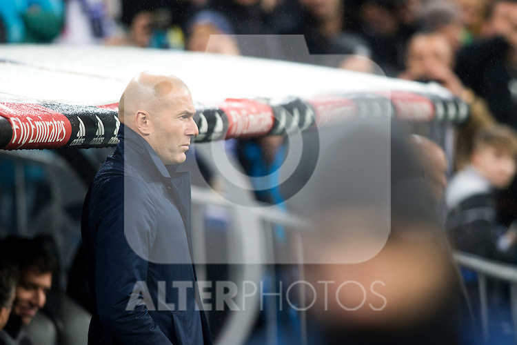Real Madrid's coach Zinedine Zidane during the match of La Liga between Real Madrid and   Real Sociedad at Santiago Bernabeu Stadium in Madrid, Spain. January 29th 2017. (ALTERPHOTOS/Rodrigo Jimenez)