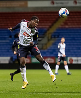 Bolton Wanderers' Liam Gordon heads forward<br /> <br /> Photographer Andrew Kearns/CameraSport<br /> <br /> EFL Papa John's Trophy - Northern Section - Group C - Bolton Wanderers v Newcastle United U21 - Tuesday 17th November 2020 - University of Bolton Stadium - Bolton<br />  <br /> World Copyright © 2020 CameraSport. All rights reserved. 43 Linden Ave. Countesthorpe. Leicester. England. LE8 5PG - Tel: +44 (0) 116 277 4147 - admin@camerasport.com - www.camerasport.com