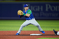 Lexington Legends second baseman Chris Fornaci (1) turns a double play during the game against the High Point Rockers at Truist Point on June 16, 2021, in High Point, North Carolina. The Legends defeated the Rockers 2-1. (Brian Westerholt/Four Seam Images)