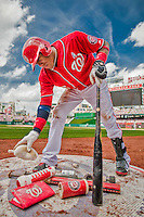 21 June 2015: Washington Nationals infielder Yunel Escobar prepares his bat while on deck during a game against the Pittsburgh Pirates at Nationals Park in Washington, DC. The Nationals defeated the Pirates 9-2 to sweep their 3-game weekend series, and improve their record to 37-33. Mandatory Credit: Ed Wolfstein Photo *** RAW (NEF) Image File Available ***